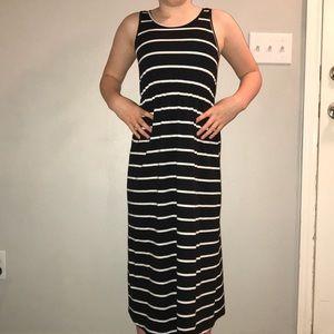 Girl Black/White Stripe Maxi Dress 10